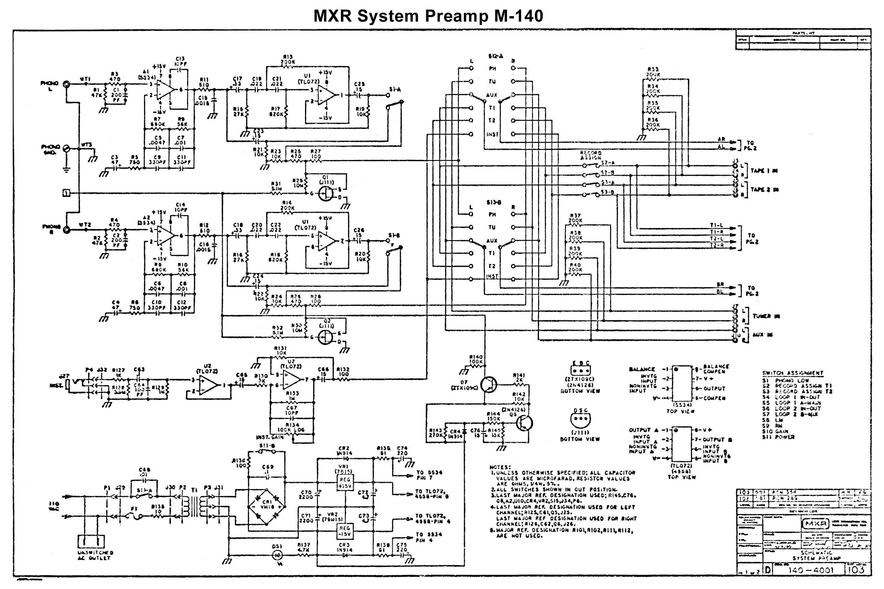 Schematic Mxr System Preamp Ii M 150 Low Noise Audio Preamplifier Circuit 140 Page 1