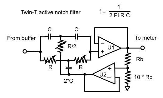 Active Twin-T notch filter on